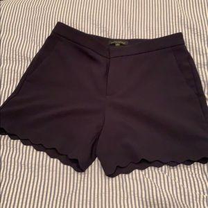Navy Scalloped Shorts